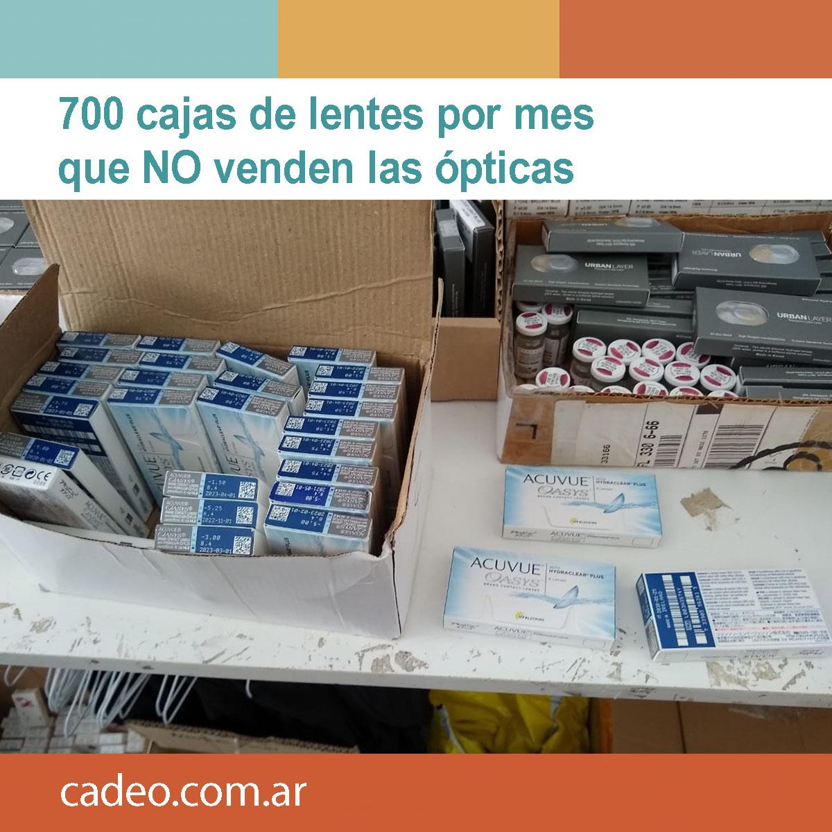 700 cajas de lentes por mes que no venden las ópticas